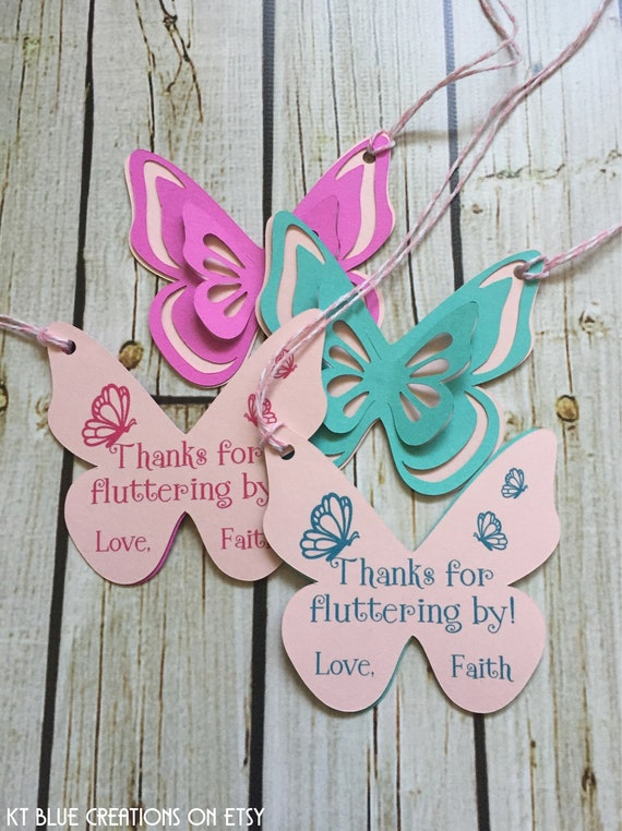 Purple Butterfly Shaped Gift Tags Thanks for Fluttering By Set of 20