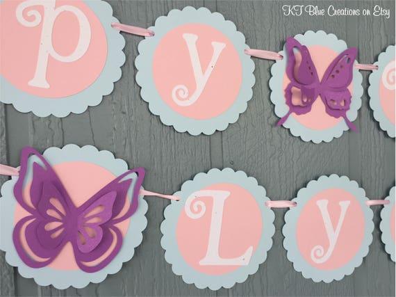 butterfly birthday banner pale blue light pink purple