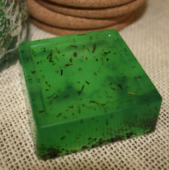 1 barre de savon double menthe menthe poivrée menthe verte herbe propre vert