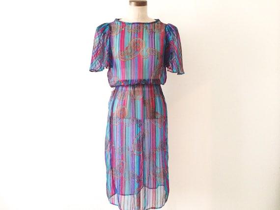 80s Paisley Cocktail Dress