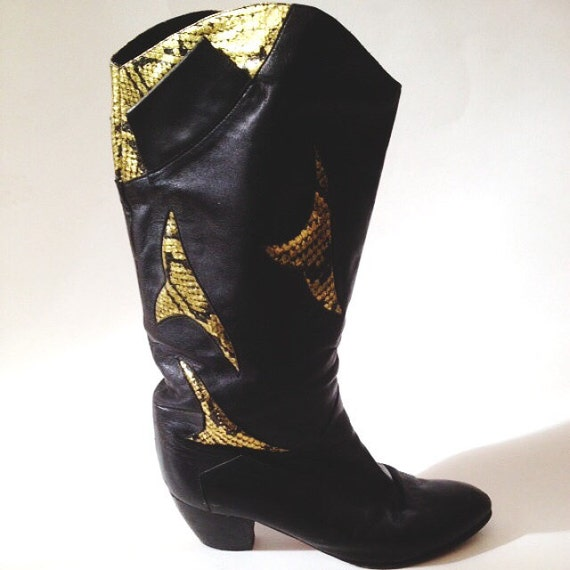80s New Wave Mid-High Boots