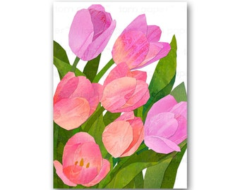 PINK TULIPS CARD - Springtime Flowers - Also available as a Print - Great Mother's Day Gift (CFLO201513)