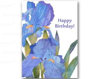 HAPPY BIRTHDAY Card - Irises - Springtime Flowers - Also available as a Print with a Free Mat - Great Gift  for the Gardener (CBDAY201401)