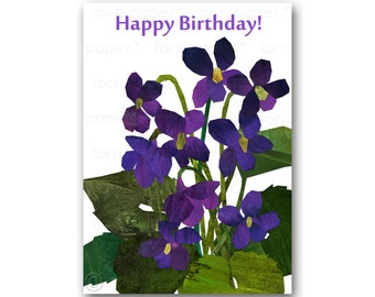 HAPPY BIRTHDAY Card - Irises - Springtime Flowers - Also available as a Print with a Free Mat - Great Gift  for the Gardener (CBDAY201409)