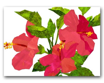 """Hibiscus Flowers - 5""""x7"""" Tropical Card - also available as a Print with a Free Mat - Great gift for a tropical wedding (CFLO201418)"""