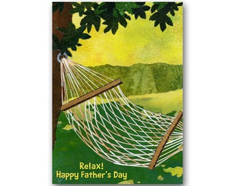 """FATHER'S DAY - Relax - Hamock 5""""x7""""  Collage Art Card - also available as a Print with a free Mat - Great Gift for Dad  (CFDAY2013019)"""