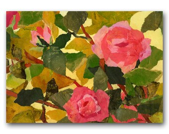 """GARDEN ROSES - 5""""x7""""  Greeting Card - Also available as a print with a Free Mat or an Art Block - design by Linda Henry (CFLO201407)"""