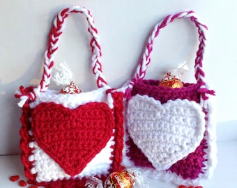 Valentine's Day Treat Bags- PDF crochet pattern ONLY - Valentine's Day, Classroom Gift, Teacher's Gift, Wedding, Anniversary, Love