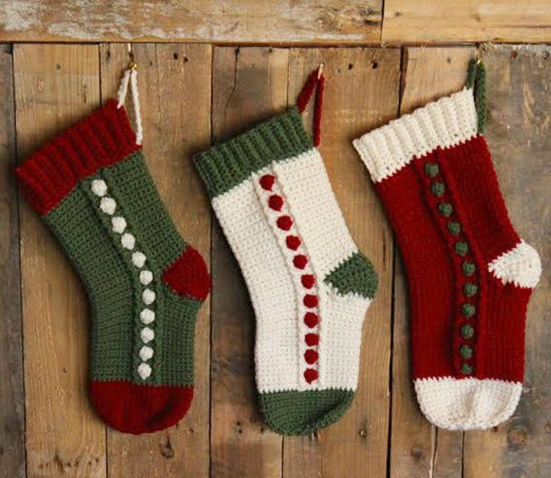 Snowbobbles Christmas Stocking  PDF crochet pattern ONLY  image 0