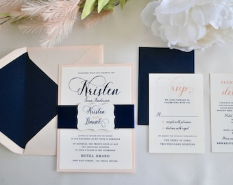 Navy Blue and Blush Wedding Invitation, Midnight Blue, Pink, Gold-Modern Script (NOT A SAMPLE LISTING)- Color/wording/materials Customizable