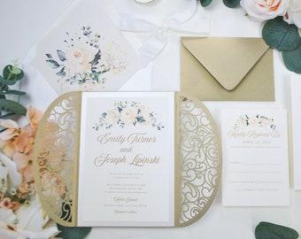 Gold Laser Cut Wedding Invitation, Gate Fold Laser cut Invite, Blush, Champagne Wedding Invitation, Floral Invitation, Wedding Invite, Navy