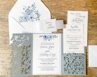 Dusty Blue Wedding Invitation, Laser Cut Pocket Invitation, Slate Blue, Dusty Blue Floral Invitation, Dusty Blue Flowers, Navy Blue, Blush