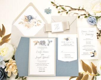 Dusty Blue Pocket Wedding Invitation, Navy Blue Invitation, Dusty Blue Wedding, Floral Invitation, Blush, Slate Blue,Dusty Blue Flowers,navy