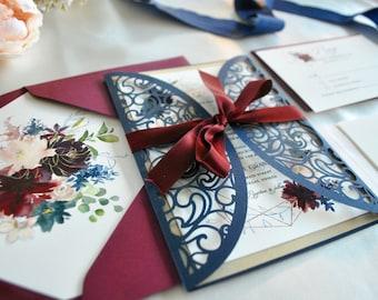 Floral Geometric Frame Wedding Invitation, Laser Cut Wedding Invitation Marsala Floral Gate Fold Lasercut,Burgundy Navy Custom Color/wording