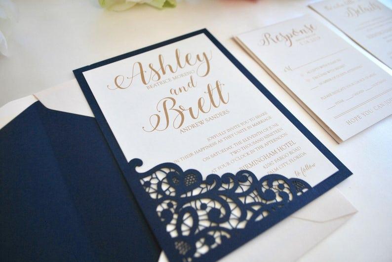 Navy Blue Blush Gold Wedding Invitation Lace Laser Cut image 0
