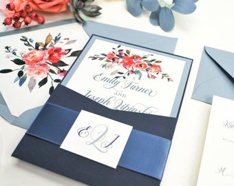 Navy Blue Coral Pocket Wedding Invitation, Navy Wedding Invitation, Dusty Blue, Coral wedding Invitation, Peach, Floral wedding invitation