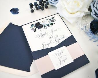 Navy Blue Blush Wedding invitation, Dusty Blue Blush Wedding Invitation, Pocket Wedding Invitation, Floral Wedding Invite, Slate Blue, Blush