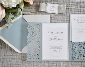 Dusty Blue Wedding Invitation, Laser Cut pocket wedding invitation, Lace Invitation, Slate Blue Invite, Navy Blue,Grey,Custom Colors/wording