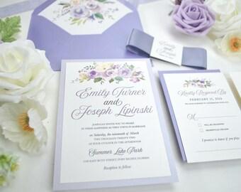 Lavender Wedding Invitation, Purple Floral Wedding Invitation, Lavender Wedding, lilac Invite, Purple Invitation, Violet, Lavender Flowers