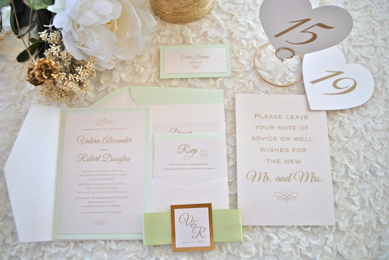 Mint Green And Gold Wedding Invitations: Classy Mint Green And Gold Foil Pocket Wedding Invitation
