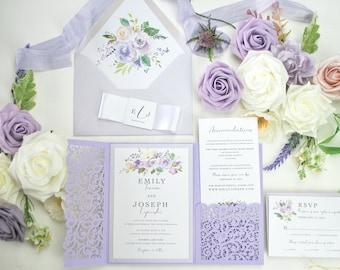 Lavender Wedding Invitation, Floral Wedding Invitation, Laser Cut Pocket wedding invitation, lilac Invite, Mauve, Purple Invitation, Blush