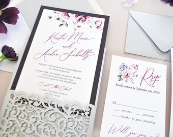 Purple Silver Wedding invitation, Amethyst Wedding Invitation, Floral Wedding Invitation, Silver Invitation, Grey, Mauve, Lavender, Purple