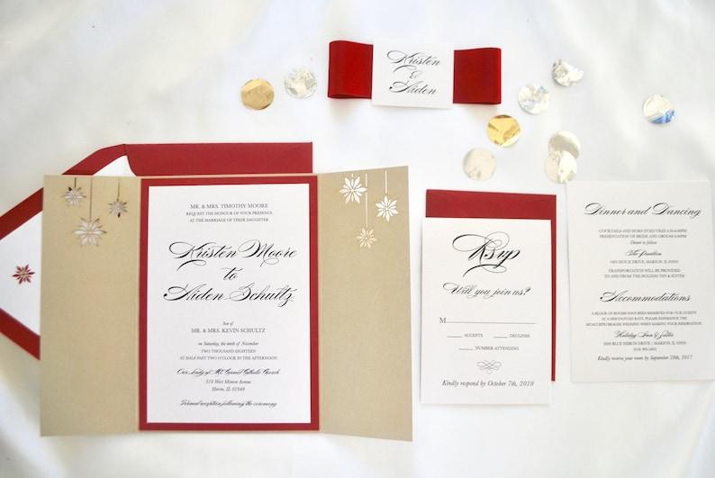 5a1b3a220b07e Burgundy Gold Winter Laser cut Wedding Invitations, Snowflake Wedding  Invitation, Blue, Red, Silver, Winter Wedding, Custom Colors/wording