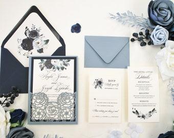 Dusty Blue Wedding Invitation, Floral Wedding Invitation, Navy Blue Laser Cut Wedding invitation, Blue Flowers, Blush, Grey, Slate Blue,Blue