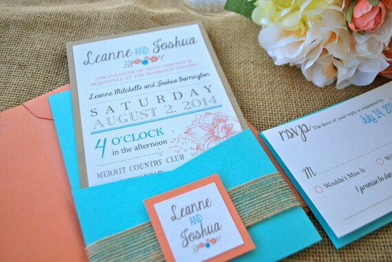 Turquoise And Coral Wedding Invitations: Coral Turquoise Blue Modern Rustic Pocket Wedding