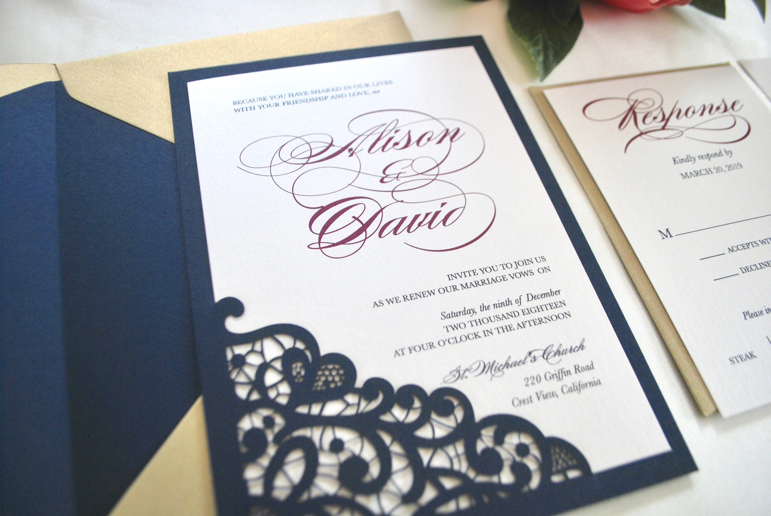 50: Blue And Gold Wedding Invitations At Websimilar.org