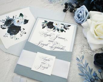 Dusty Blue Wedding invitation, Dusty Blue Pocket Wedding Invitation, Dusty Blue Floral Wedding Invitation, Slate Blue, Blush, Navy Blue,Grey