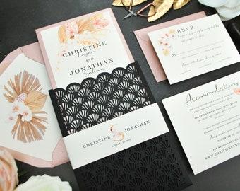 Rose Gold Wedding Invitation, Laser Cut pocket wedding invitation, Pampas Grass, Dusty Rose, Black, Floral Invite, Art Deco, Great Gatsby