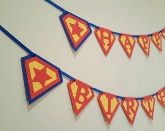 superman birthday banner first birthday superhero custom