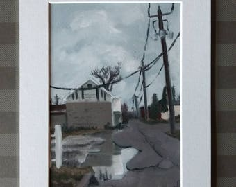 """Fine Art Print """"Rainy Day Alley"""" 7x5 matted to 9x7"""