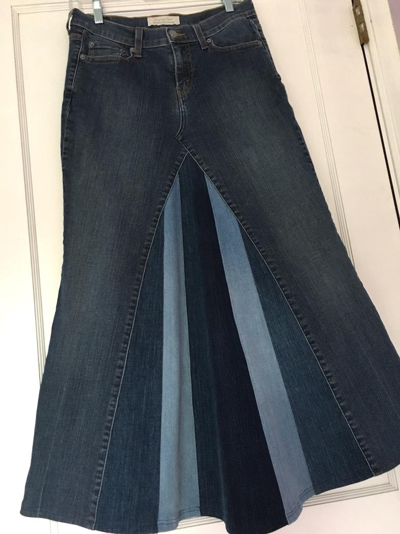 1e3156653c Womens Long Modest A line Denim Skirt Size 6 30 inch waist | Etsy