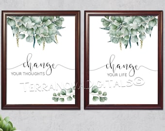 "Change Your Thoughts Change Your Life - 8 x 10"" Digital Art Print - Home Printable Decor - Instant Download"