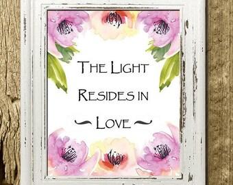 The Light Resides in Love - 8 x 10 Digital Watercolor Art Print - Printable Decor - Nursery Decor - Nursery Art