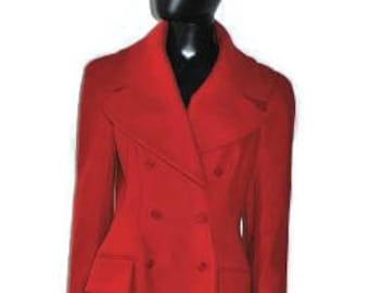 ALEXANDER MCQUEEN COAT, red wool cashmere coat, designer coat uk12 us 8 medium
