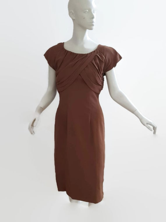 M L 50s coffee dress shoulder train trudy cooper … - image 1