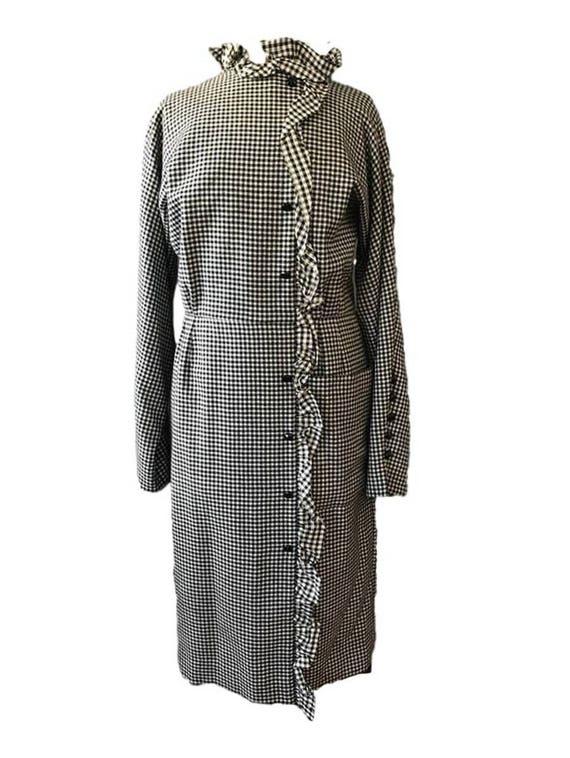 L XL  HAUTE COUTURE Nina Ricci houndstooth dress,