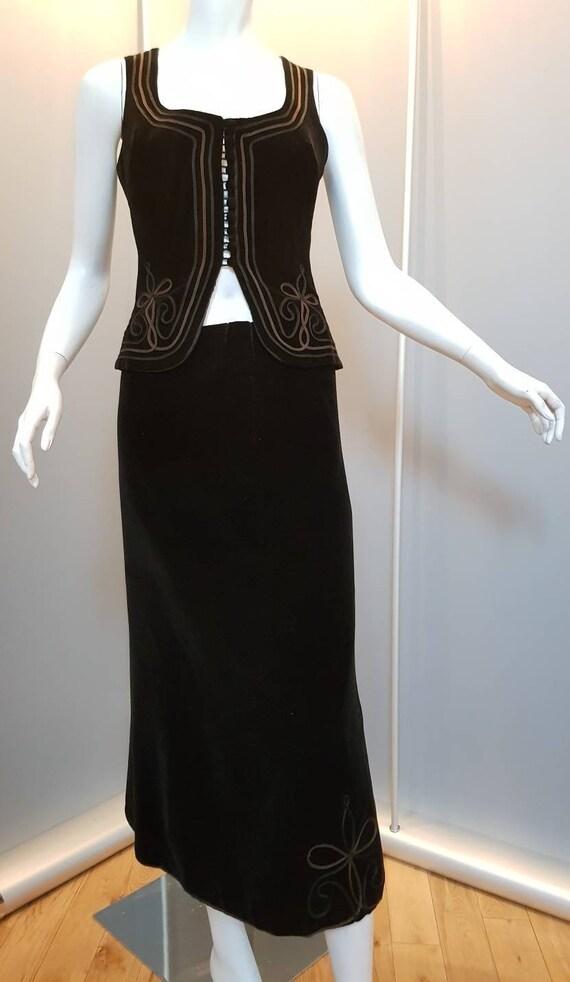 XXS XS 60s skirt set boho waistcoat 60s skirt suit