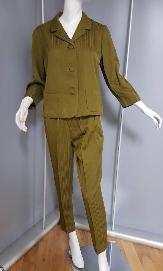 XS S 50s Wallis cigarette pant suit olive green ja
