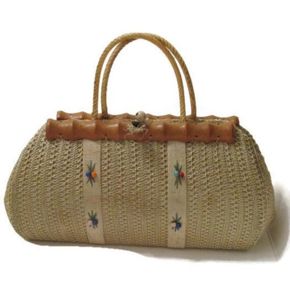 Antike HandtascheVintage Handtasche aus Raffiabast – 1900