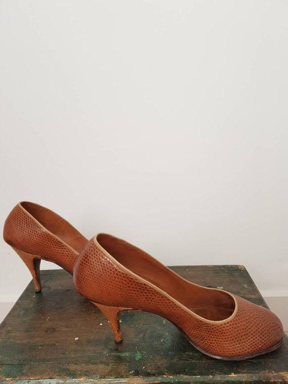 40s tan lizard skin high heel shoes UK 5, US 7, W… - image 5