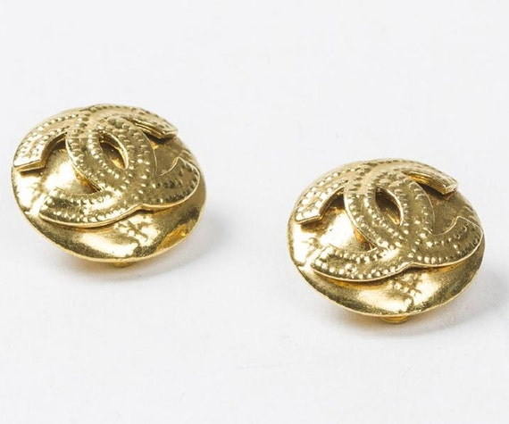 sale Authentic CHANEL BUTTON EARRINGS, circa 1990,