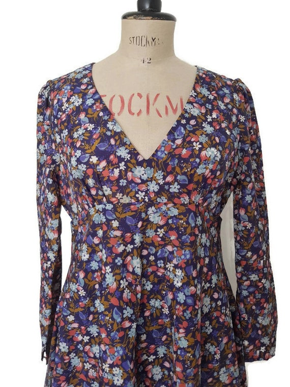 M JEAN VARON DRESS long designer vintage retro flo