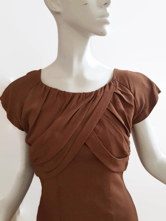M L 50s coffee dress shoulder train trudy cooper … - image 3