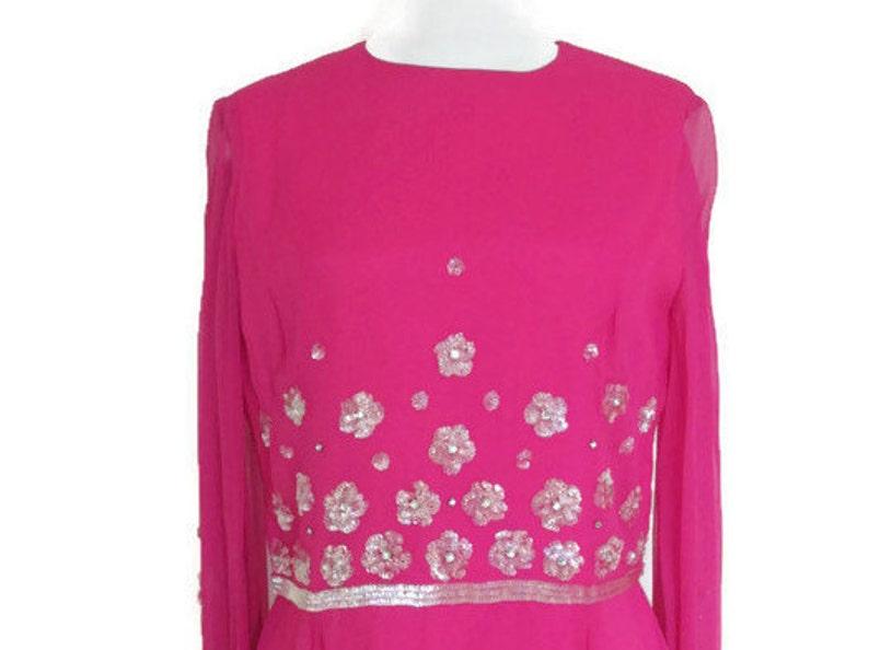 9d17a594570 Sale 50s pink SILK chiffon sequin glass rhinestones long dress