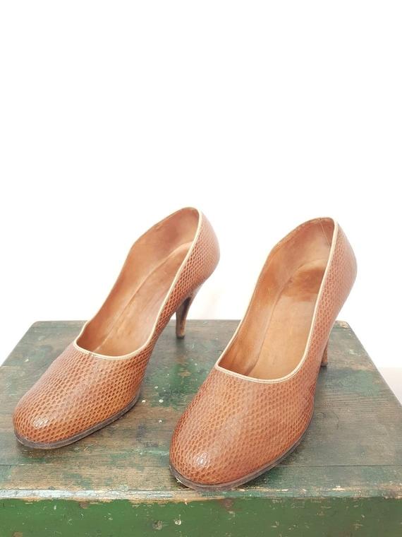 40s tan lizard skin high heel shoes UK 5, US 7, W… - image 4