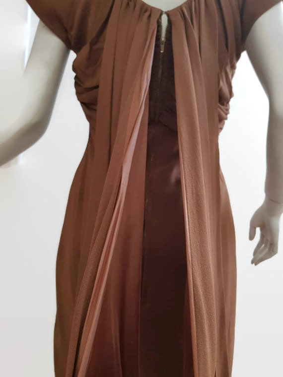M L 50s coffee dress shoulder train trudy cooper … - image 6